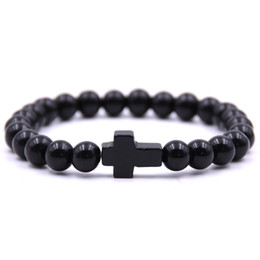 $enCountryForm.capitalKeyWord UK - CZ cross Stone Bracelets men 8mm beads bracelet Simple Summer Dumbbells Men Bracelets Hematite Beads Bracelet For Women lovers Jewelry