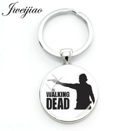 $enCountryForm.capitalKeyWord Australia - JWEIJIAO Hot selling The Walking Dead Keychain Figure Silhouette Image Glass Cabochon Keyring Gift Custom QF216