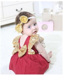 $enCountryForm.capitalKeyWord Australia - 2019 summer new girls sequins falbala fly sleeve dress baby kids Big bows princess dress toddlers princess dress red green A01505