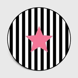 Velvet Mats UK - Cute black stripes Pink five-pointed star Carpets for living room Bedroom Area Rugs Crystal velvet round 3D carpet Antiskid Mats