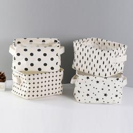 Linen Boxes Storage Australia - High Quality Cotton Linen Desktop Storage Basket Sundries Storage Box with Handle Linen Desk Container Makeup Organizer Case D19011201