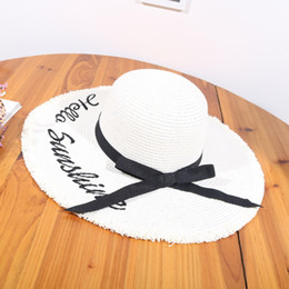 $enCountryForm.capitalKeyWord Australia - Hats Caps Summer Weave letter Sun Hats For Women Lady Lace Ribbon Wide Brim Beach Straw Hat Simple Leisure Protection Visor Cap