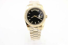 Men Watches Week Day Australia - Day Week Men Watch Black Dial 18K Gold 36mm Date stainless steel Authentic clasp GD2836 Automatic Movement Roma Top Fashion wristwatch