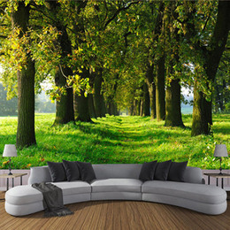 Chinese Large Wall Painting UK - 3D Photo Wallpaper Non-woven Straw Texture Large Murals Wall Painting Forest Small Road Living Room Sofa TV Backdrop Wall Papers