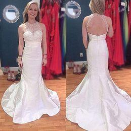 deep sweetheart neckline mermaid 2019 - Ivory Prom Dresses Long Cheap robes de bal Mermaid Halter Neckline Open Back Formal Evening Gowns Women Cocktail Party D