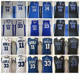09430041 Duke Blue Devils College Bobby Hurley Jersey 11 Men Basketball Grant Hill  33 Brandon Ingram Jerseys 14 Black Away White Team Color Blue