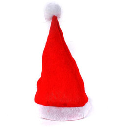 christmas santa hats wholesale Canada - 200pcs Red Santa Claus Hat Ultra Soft Plush Christmas Cosplay Hats Christmas Decoration Adults Christmas Party Hats