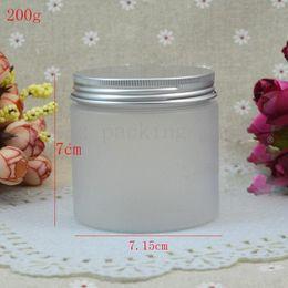 $enCountryForm.capitalKeyWord Australia - Wholesale- (20pcs) 200g empty transparent frosted plastic jar 200cc Large diameter cosmetic cream jar Spiral aluminum cover jar
