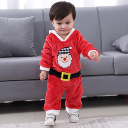 Santa Claus Girls Jumpsuit Australia - Baby Kids Rompers Chirtsmas Fuzzy Plush Santa Claus Jumpsuit Hooded One Piece Climbing Suit Playsuit Sleepsuit for Boys Girls 3-18 months