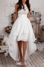 Wedding Dress Sleeveless Lace Top NZ - 2019 Elegant Jewel Neck High Low Wedding Dresses Sleeveless Lace Top Tieres Chiffon Skirts Country Bridal Gowns Custom Made Wedding Gowns