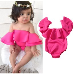 Wholesale strapless cotton for sale - Group buy INS Baby girls ruffle Off Shoulder romper cotton infant Strapless Jumpsuits summer Fashion Boutique kids Climbing clothes C5741