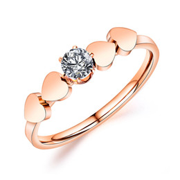 heart shaped rings rose gold 2019 - New fashion wild white crystal heart-shaped titanium steel ring High-quality simple ladies rose gold ring jewelry gift 3