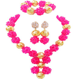 $enCountryForm.capitalKeyWord Australia - Fuchsia Pink African Beads Jewelry Set Crystal Ball Beaded Necklace Sets Nigerian Wedding Party Jewelry Accessories 1SJQ03