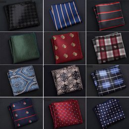 polka dot towels wholesale Australia - Luxury Men Handkerchief Polka Dot Striped Floral Printed Hankies Polyester Hanky Business Pocket Square Chest Towel 23*23CM