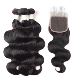 Chinese  9A Body Wave Deep Wave Straight Water Wave Human Hair Bundles with Closure 3Bundles with Lace Closure 8-28 inch Remy Human Hair Extensions manufacturers