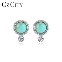 wholesale 925 round stud earrings UK - CZCITY Real 925 Sterling Silver Round Turquoise Stud Earrings for Women Fine Jewelry Brincos Joyeria Fina Para Mujer Gift SE0421