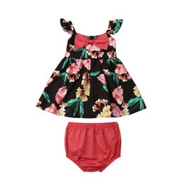 red baby vest UK - 0-18M Newborn Toddler Baby Girl Clothes Set Flower Bow Tops Vest Skirt Shorts Panties 2PCS Outfit Sunsuit