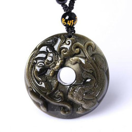 China Handmade natural golden obsidian pendant pi yao peace buckle mascot jade Necklaces Pendants supplier jade buckle pendants suppliers