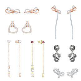 Love Letter Stud Earrings NZ - FAHMFAHMI Bow Perforated Stud Earrings Rose Gold Heart Shaped Women's Fashion Stud Earrings Romantic Red Lips Letter Long Earrings