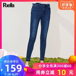 Discount woman jeans bound - Jeans Woman 2019 Trousers Thin Pencil Pants High Waist Self-cultivation Bound Feet Pants