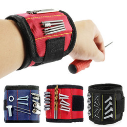 Tool Magnetic Bracelets 5 Colors Repair Tools Wristband Tool Belt Portable Tool Bag with 2 Magnet OOA7569-8 on Sale