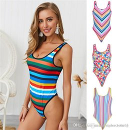 yellow one piece swimwear ladies 2020 - Summer Plaid One Piece Womens Swimwear Sexy Fashion Striped Print Bathing Suits Ladies Backless Designer Swimsuit discou