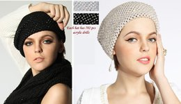 Fallen Hats Australia - Stand Focus Fashion Royal Crochet Knitted Beanie Beret Wool Blend Stone Warm Hat Cap Women Ladies Fall Winter Grand Black Beige Double Layer