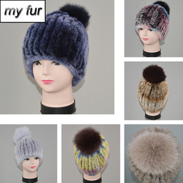 real fur hat cap 2020 - Real Rex Fur Hat With Fur Pompoms Women New Brand Thicken Female Caps Winter Knitted Real Beanies Hats cheap real fur ha