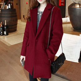 Cotton Long Overcoat Ladies NZ - New Woman Fashionable Cotton Coat Solid Color Ladies Winter Warm Suit Collar Long Jacket Coat Overcoat Thick Casual Outerwear
