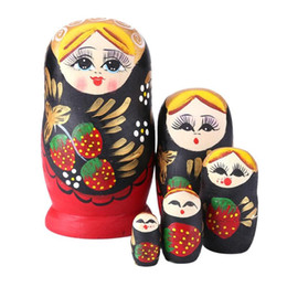 Matryoshka Toys Australia - 5pcs Set Wood Russian Nesting Matryoshka Strawberry Girl Doll Set Color Painted Toys for Children Decoration Ornament Gift