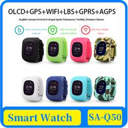 gps tracker kids wholesale NZ - Q50 OLED Kids' GPS Watch SOS Call kids Smart Clock Children Wristwatch Finder Locator Tracker Baby Anti-Lost Monitor DHL Free Shipping