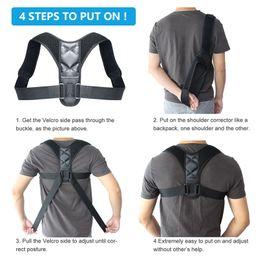 Wholesale Sports Toys Adjustable Back Posture Corrector Clavicle Spine Backs Shoulder Lumbar Brace Support Belt Postures Correction