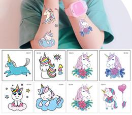 $enCountryForm.capitalKeyWord NZ - 25pcs Cartoon Blue Unicorn Fairy Tales Children Kids Temporary Tattoo Waterproof Funny Flash Party Girl Baby Body Art Horse Tattoo Stickers
