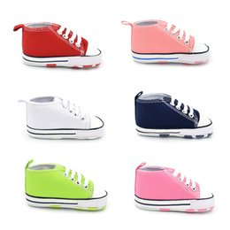 Baby Girl Summer Canvas Shoes Australia - First Walkers Sneakers Newborn Baby Boys Girls Infant Toddler Lace-Up Canvas Prewalker Summer Soft Sole Anti-slip Shoes
