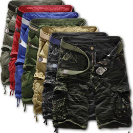 black belt shorts UK - Military Summer Men Baggy Multi Pocket Zipper Cargo Shorts Male Casual Loose Cargo Camouflage Army Green Tactical Shorts Notwith Belt