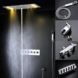 Electric Rain Shower NZ - Bathroom Faucet Accessories Electric Shower with LED 20'' Overhead Rain SPA Massage Shower Panel Hot Cold High Flow Bath 20180927#