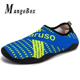 Beach Shoes 47 Australia - Men Shoes for Swimming Blue Black Adult Diving Shoes Weight Light Beach Water Mens Breathable Footwear Plus Size 45 46 47