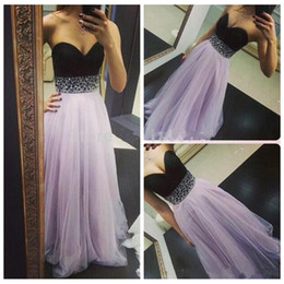 $enCountryForm.capitalKeyWord NZ - 2019 Sweetheart Black Top A-Line Tulle Prom Dresses Beaded Waist Long Special Occasion Party Gowns Formal Spring Light Purple Cheap