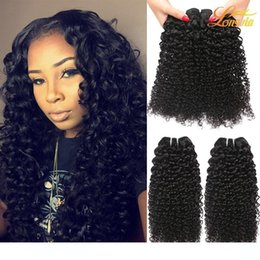 machine factories Canada - A Factory Brazilian Human Hair Extension Unprocessed Brazilian Kinky Curly Hair Weave Bundles Natural Color Can Be Dyed Machine Double