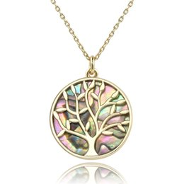 gold tree life Australia - Jewelry Life Tree Pendant Natural Abalone Shell Necklace 14k Gold Plated Necklaces Colorful Engraved Plant Shell Sweater Chain in Stock