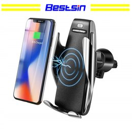 Wholesale S5 Automatic Clamping Wireless Car Charger Holder Receiver Mount Smart Sensor W Fast Charging Charger for iPhone Samsung Universal Phones