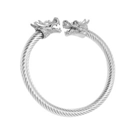 $enCountryForm.capitalKeyWord Australia - Adjustable Mens Dragon Bracelet Stainless Steel Twisted Cable Bangle Cuff Bracelet Silver Color Polished