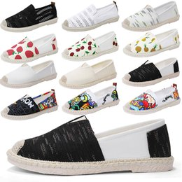Printed Canvas Shoes For Ladies Australia - 2019 Summer Flats Slip On Canvas Shoes Black Retro Vintage Ladies Womens Casual Espadrilles Shoes For Female Lazy Loafers
