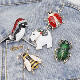 Sapphire broocheS online shopping - Cute Animal Dog Insect Penguin Bee Ladybug Brooches Dress Collar Suit Beetle Banquet Decoration Brooch Pins Wedding Jewelry