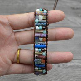 Precious stones bracelets online shopping - Drop Shipping Women Boho Bracelet Tube Shape Natural Stone Single Leather Wrap Bracelet Semi Precious Stone Beaded Bracelet