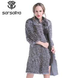 fur fox long female coats NZ - Real Silver Fox Fur Coat Women Long Natural Fur Coat Female Knitted Spring Genuine Fur Overcoat For Ladies Luxury Plus Size 2019 T200104