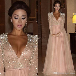 myriam fares beaded crystal UK - Myriam Fares 2019 Formal Evening Dresses Party Wear Long Sleeves Deep V Neck Crystal Blush Pink Red Carpet Pageant Prom Gowns Vestidos