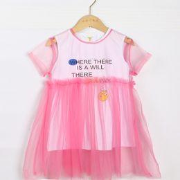 $enCountryForm.capitalKeyWord Australia - Teenager Girls Summer Clothing Set 2019 Fashion Short Sleeve Net Veil Dress+Printed vest skirt Two-piece Suite