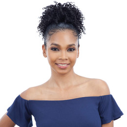 clip hair hairpieces UK - Graceful African American Black High Puff Ponytail with 2 Clips High Wrap Updo Hairpieces Kinky Curly Afro Bun for Black Women 120g