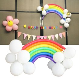 Rainbow balloons online shopping - Rainbow Set Balloons Pearl Latex palloncini flying balls Christmas Wedding Mixed Party Bride Long Holiday birthday Decoration Kids Toys